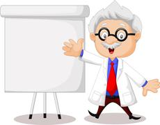 Professor cartoon teaching - stock illustration