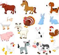 Farm animal cartoon collection set Stock Illustration