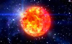 Stock Illustration of solar sun in blue space