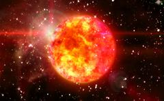 solar sun in red space - stock illustration