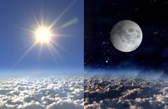 sun light day and moon night - stock illustration