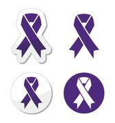 Indigo ribbon - bullying, stalking awareness symbol Stock Illustration