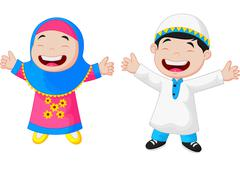 Happy Muslim kid cartoon - stock illustration