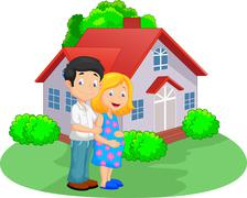 Young couple cartoon in front of their house - stock illustration