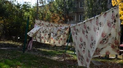 Process of drying of linen. Stock Footage