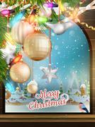 Stock Illustration of Christmas Theme - Window with a kind. EPS 10