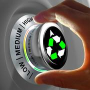 Concept of a button adjusting and maximizing the recycling. Stock Illustration