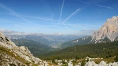 Pan over dolomite alps valley 11530 Stock Footage