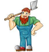 lumberjack cartoon isolated - stock illustration