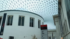 LONDON, UK – OCTOBER 16, 2014: British Museum, roof of the Great  Court. Stock Footage
