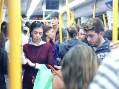Crowd of people in metro train in Madrid, EDITORIAL NTSC Stock Footage