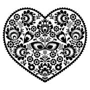 Polish black folk art heart pattern on white - wzory lowickie, wycinanka - stock illustration
