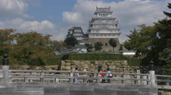 Bridge at Entrance to Himeji Castle in Japan Stock Footage
