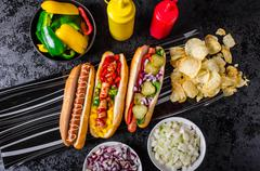 all beef dogs, variantion of hot dogs - stock photo