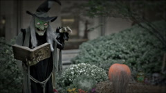 Wicked Witch Green Face Casting Spell Scary Halloween Evil Horror Scene NYC - stock footage