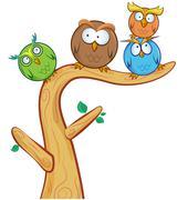 funny owl group cartoon on tree - stock illustration