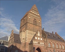 Former city hall of Roskilde (Denmark) + pan facade Stock Footage