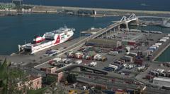Barcelona Spain ferry cargo cruise ship port 4K 054 Stock Footage