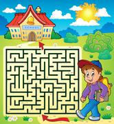 Maze with schoolboy - illustration. Stock Illustration