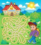Maze with schoolboy - illustration. Stock Illustration
