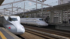 Shinkansen Trains at Himeji Station in Japan Stock Footage