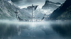 Viking Ships on nordic sea, Epic FullHD VisualFX shot Stock Footage