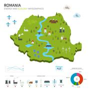 Energy industry and ecology of Romania - stock illustration