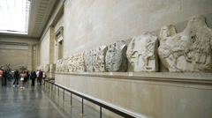 LONDON, UK – OCTOBER 16, 2014: Elgin Marbles display at the   British Museum. Stock Footage