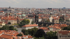 Prague Skyline Aerial View Charles Bridge Tourists Attraction Crowd People Visit Stock Footage