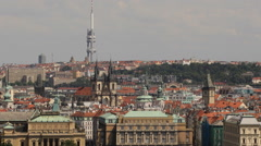 Prague Skyline Aerial View Zizkov TV Television Tower Tyn Cathedral Old Town Day Stock Footage