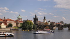 Beautiful Prague Cityscape Establishing Shot Vltava River Charles Bridge Sights Stock Footage