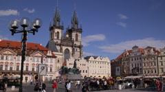 Old Town Square Prague Czech Republic People Crowd Tourists Walk Visit Landmarks Stock Footage