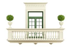 classic balcony balustrade with window - stock illustration