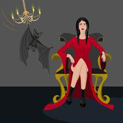 Woman in red dress Stock Illustration