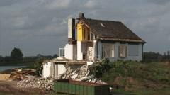 Depoldering floodplain of river IJssel - partly demolished house Stock Footage