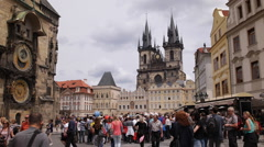 Old Town Square Astronomical Clock Prague Landmark Busy Crowd Rush Hour Visitors Stock Footage