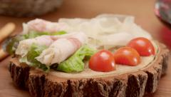 Tracking shot of traditional countryside food Stock Footage