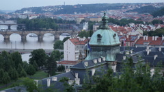 Pan Left Panoramic Shot Prague Skyline Straka Academy Czech Government Cabinet Stock Footage