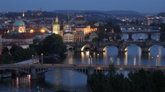 Establishing Shot Prague Skyline Aerial View Charles Bridge Dusk Light Night Car Stock Footage