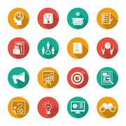 Marketers Flat Icons Set Stock Illustration