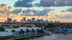Fort Lauderdale Skyline New River Intracoastal Waterway Stock Footage