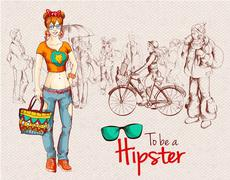 Hipster girl crowd - stock illustration