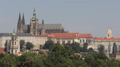 Establishing Shot Vitus Cathedral Prague Skyline Nicholas Church Dome Cityscape Stock Footage