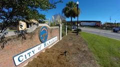 A sign welcomes drivers to Hanahan, South Carolina (3 of 4) Stock Footage