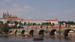 Panoramic View Prague Skyline Landmarks Touristic Cruise Ships Sightseeing Boat Stock Footage