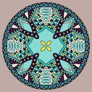 Stock Illustration of decorative design of circle dish template, round geometric patte