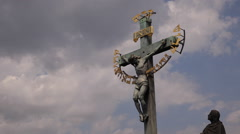 Crucifixion Jesus Christ Catholic Czech Cross Charles Bridge Prague Cloudy Day Stock Footage