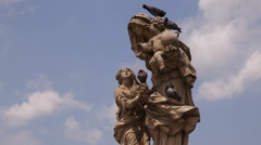 Statue of St Anne Giant Sculpture Virgin Mary Mother Holds Baby Jesus Prague Day Stock Footage