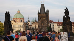 Tourists Visiting Old Town Prague Landmark People Crossing Famous Charles Bridge Stock Footage