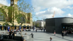 King's Cross station frontage time lapse panorama. Stock Footage